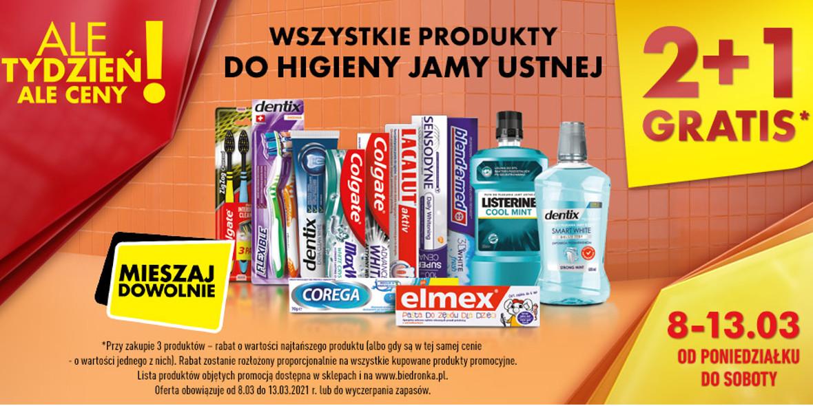 Biedronka: 2  + 1 na wszystkie produkty do higieny jamy ustnej 08.03.2021