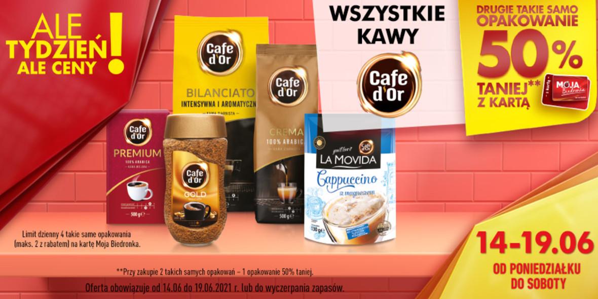 Biedronka: -50% na wszystkie kawy Cafe d'Or 14.06.2021