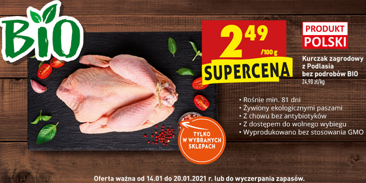 Biedronka:  Kurczak BIO 14.01.2021