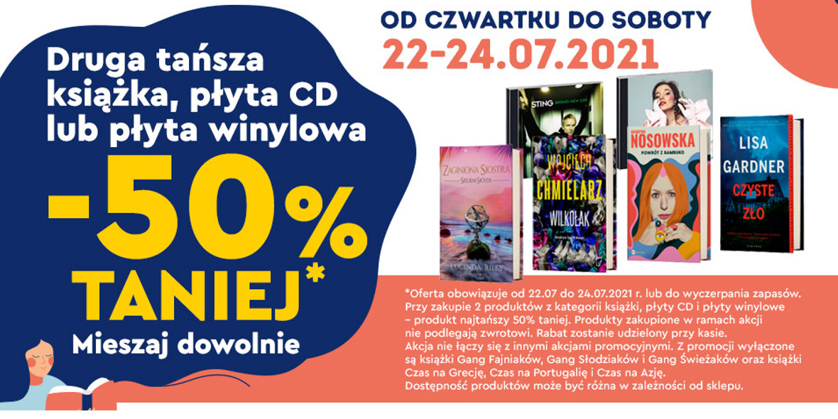 Biedronka: -50% na drugą książkę, płytę CD lub płytę winylową 22.07.2021