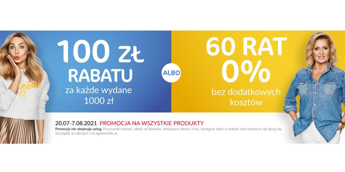 Agata Meble: -100 zł za każde wydane 1000 zł