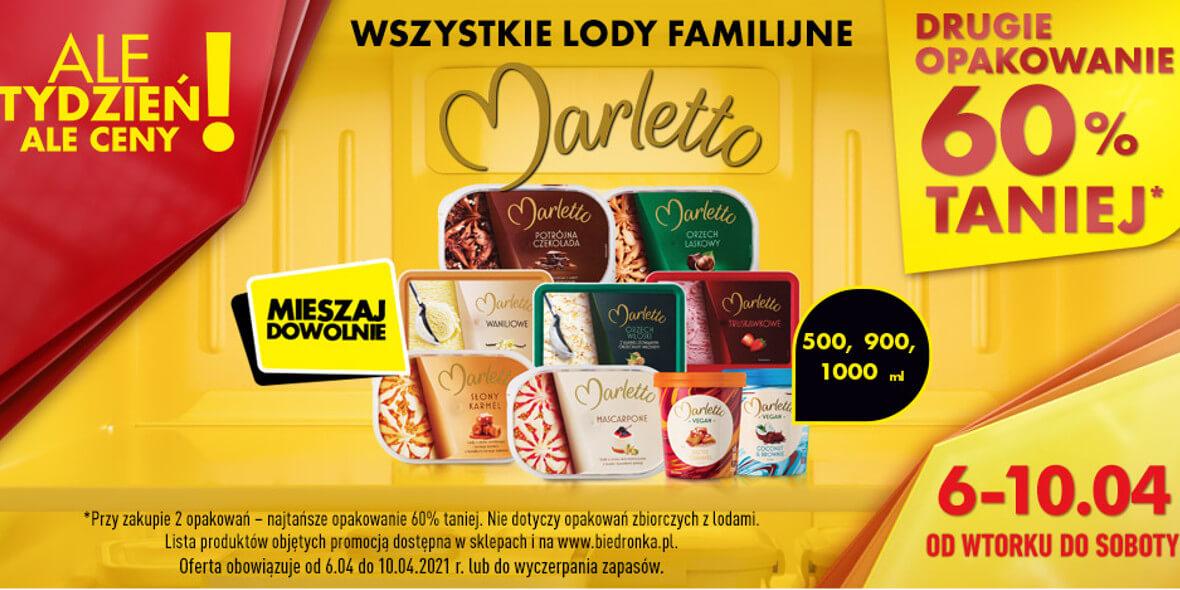 Biedronka:  -60% na lody Marletto 06.04.2021
