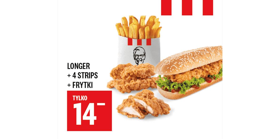KFC: 14 zł Longer + 4x Strips + Frytki 30.12.2020