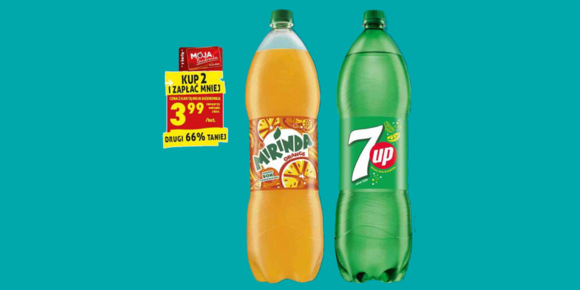 Biedronka: -66% na napój Mirinda, 7up