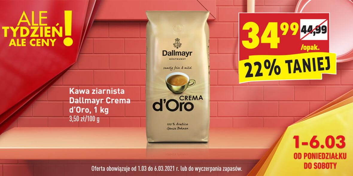 Biedronka: -22% na kawę ziarnistą Dallmayr Crema 01.03.2021