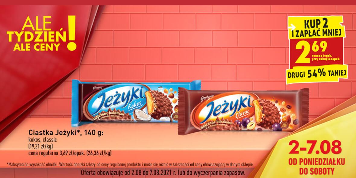 Biedronka:  -54% na drugie opakowanie ciastek Jeżyki 04.08.2021