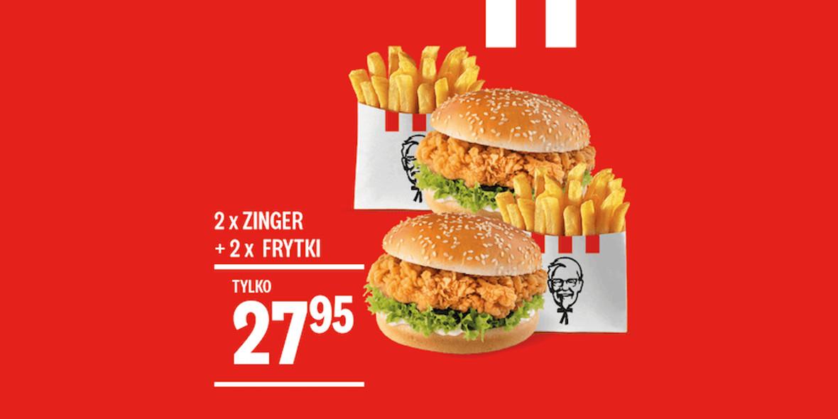 KFC: 27,95 zł 2 x Zinger + 2 x Frytki