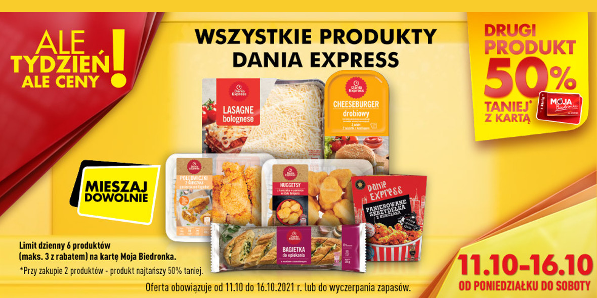 Biedronka: -50% na wszystkie produkty Dania Express 11.10.2021