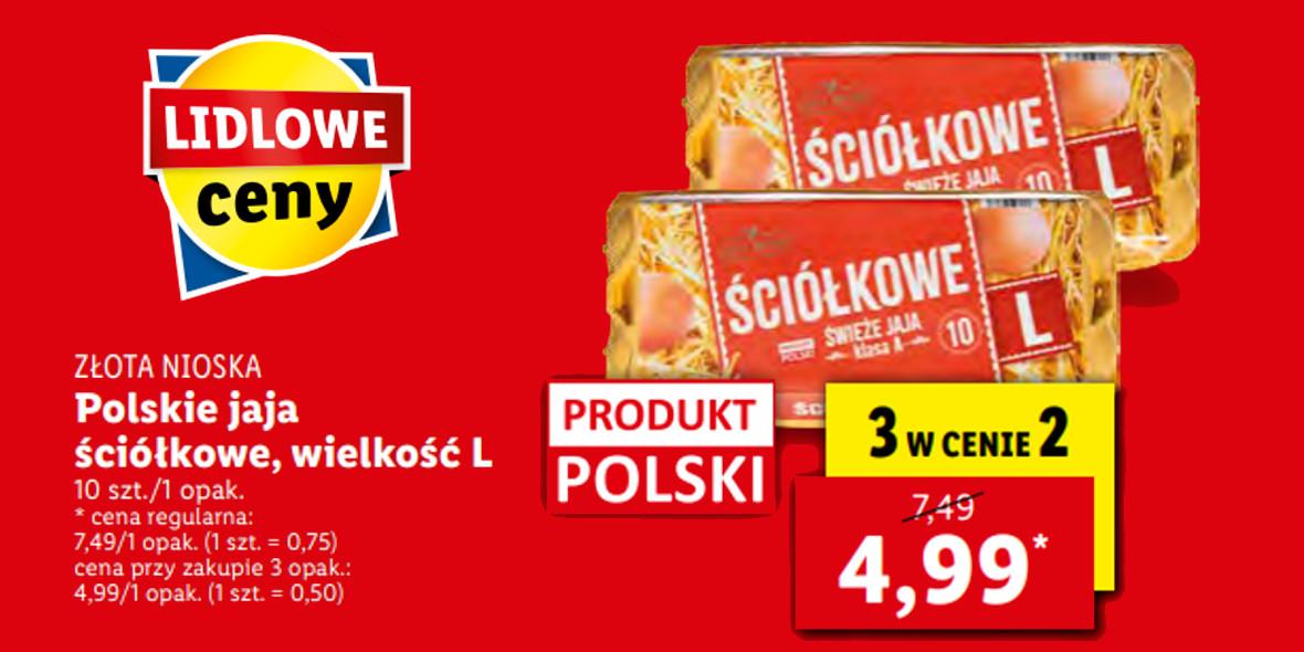 Lidl: 3 w cenie 2 polskie jaja ściółkowe Złota Nioska 27.09.2021