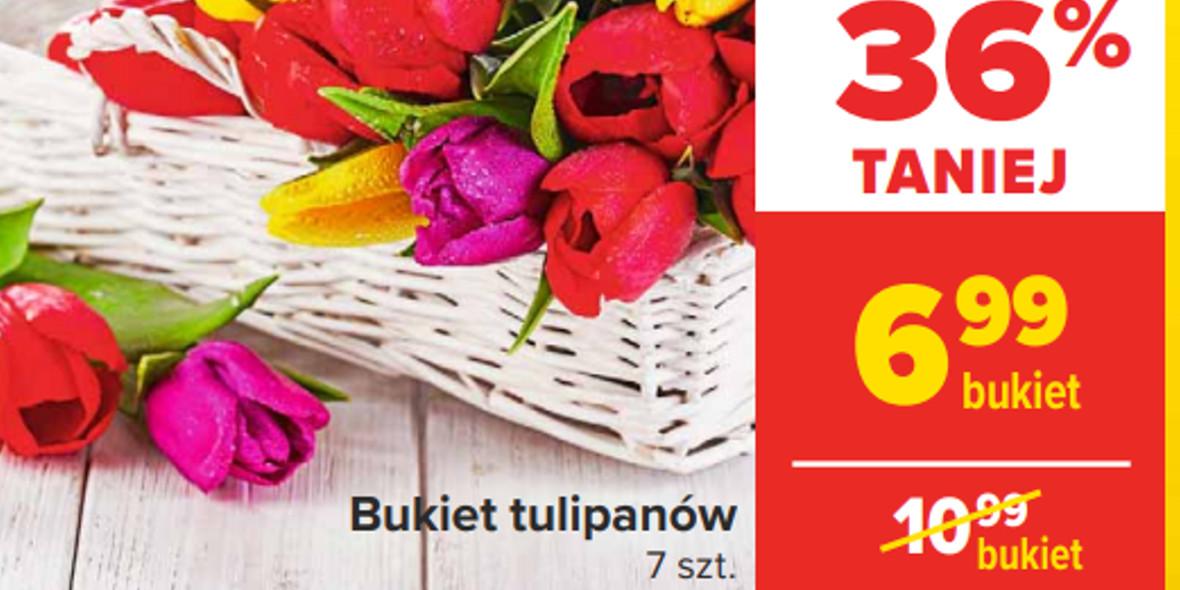 Carrefour: -36% na bukiet tulipanów 08.03.2021