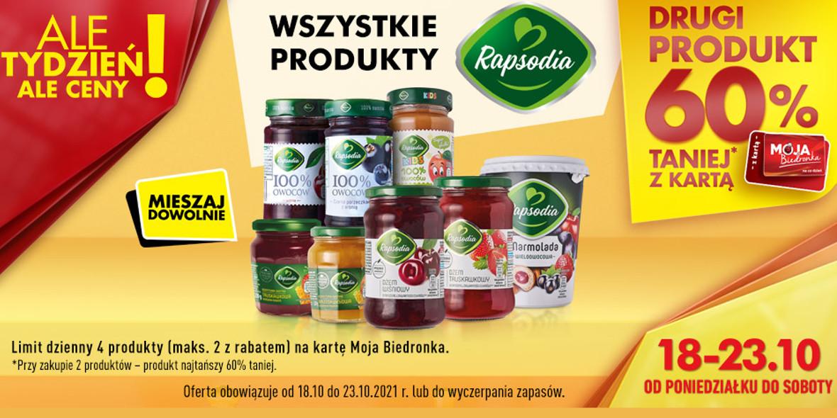 Biedronka:  -60% na drugi produkt Rapsodia 18.10.2021