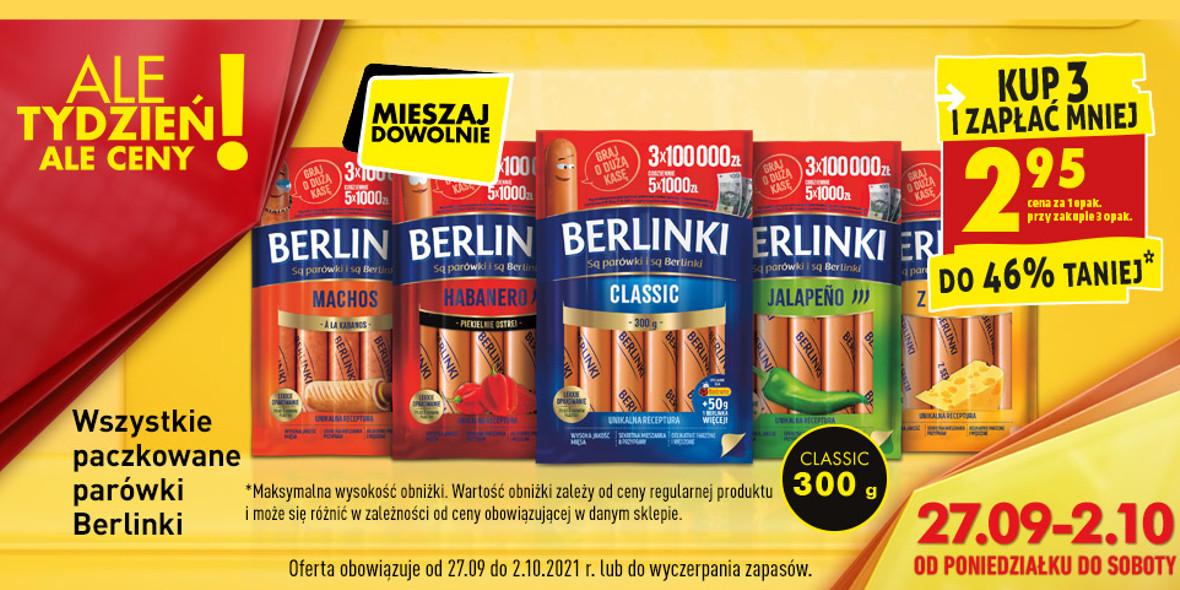 Biedronka:  Do -46% na parówki Berlinki 27.09.2021