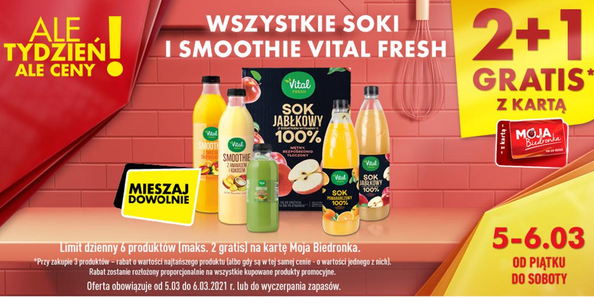 Biedronka:  2 + 1 na wszystkie soki i smoothie Vital Fresh 05.03.2021
