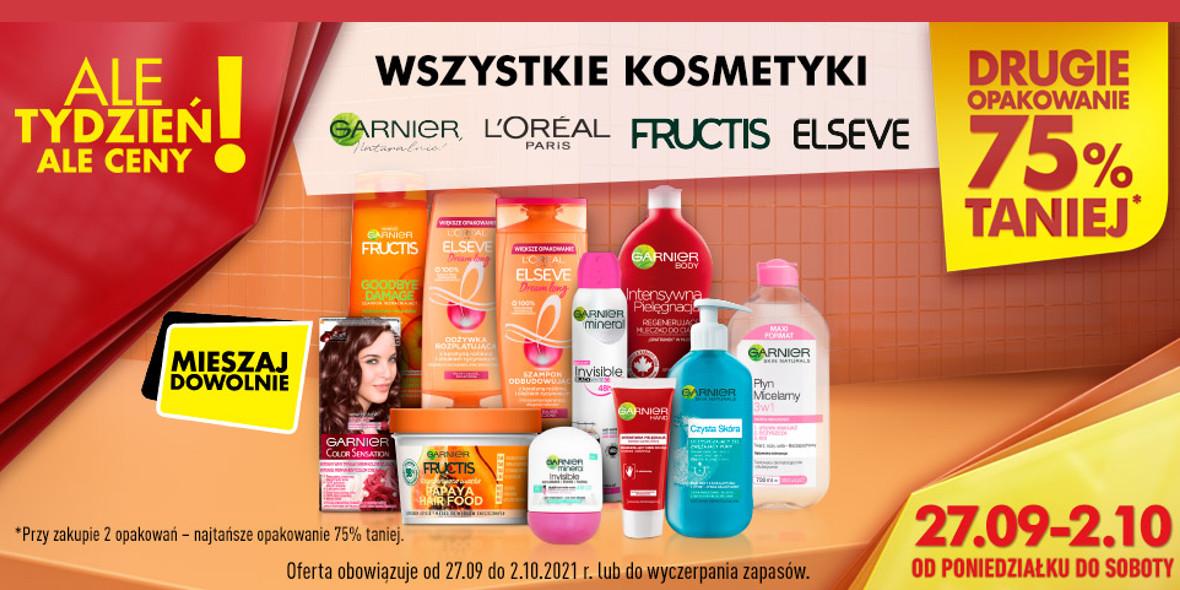 Biedronka: -75% na wszystkie kosmetyki wybranych marek 27.09.2021