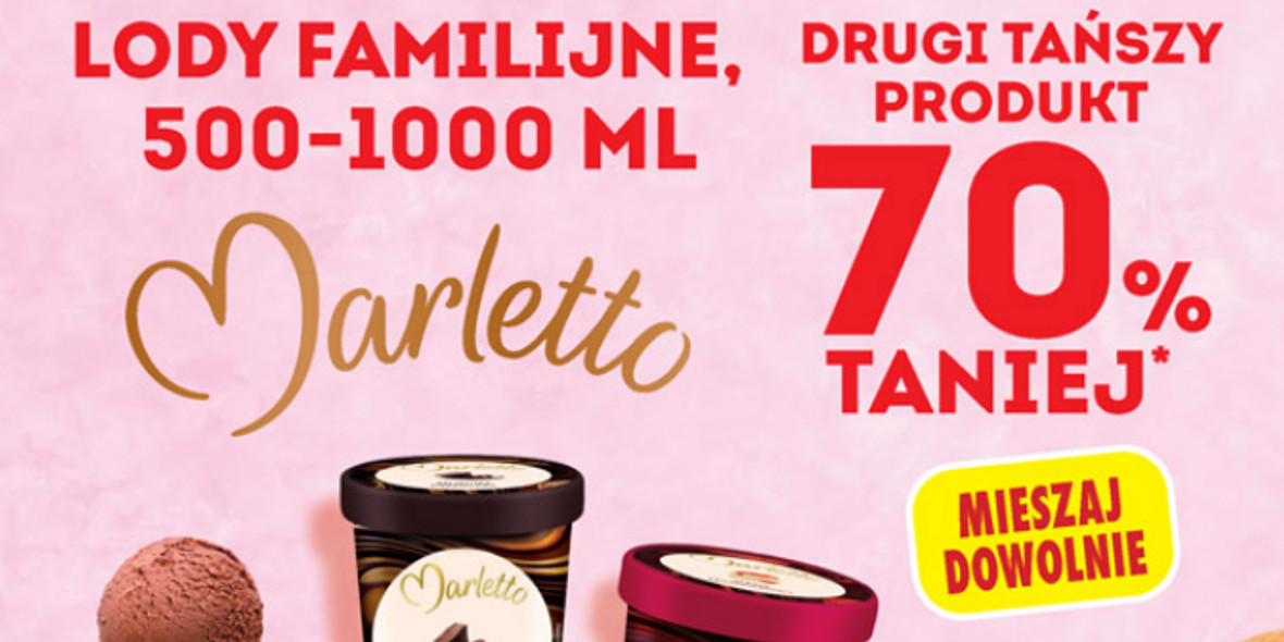 Biedronka: -70% na lody familijne Marletto 500-1000 ml 20.09.2021
