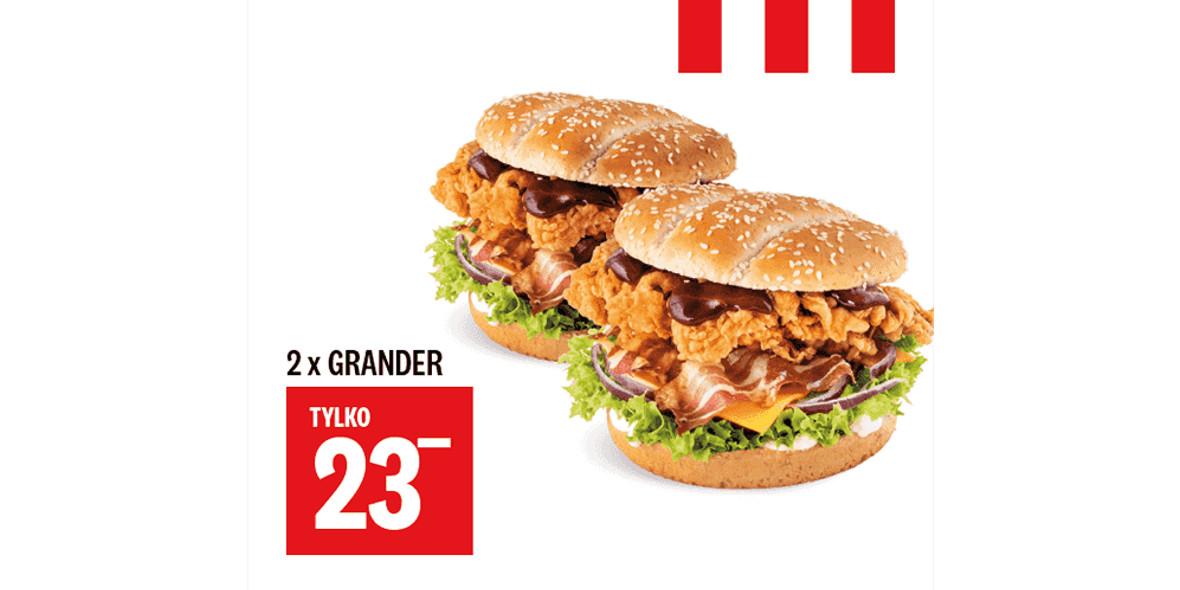 KFC: 23 zł 2 x Grander 30.12.2020