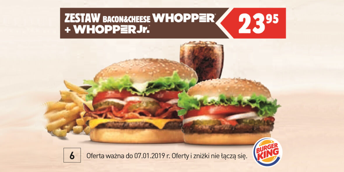 za zestaw Bacon & Cheese Whopper + Whopper Jr.