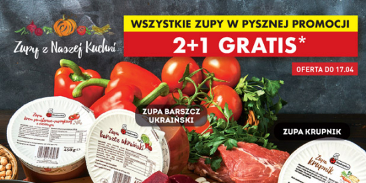 Biedronka:  2+1 wszystkie zupy 15.04.2021