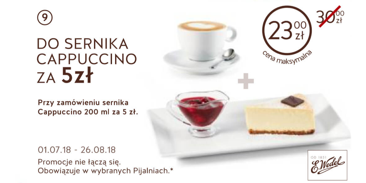 za Cappuccino przy zamówieniu sernika