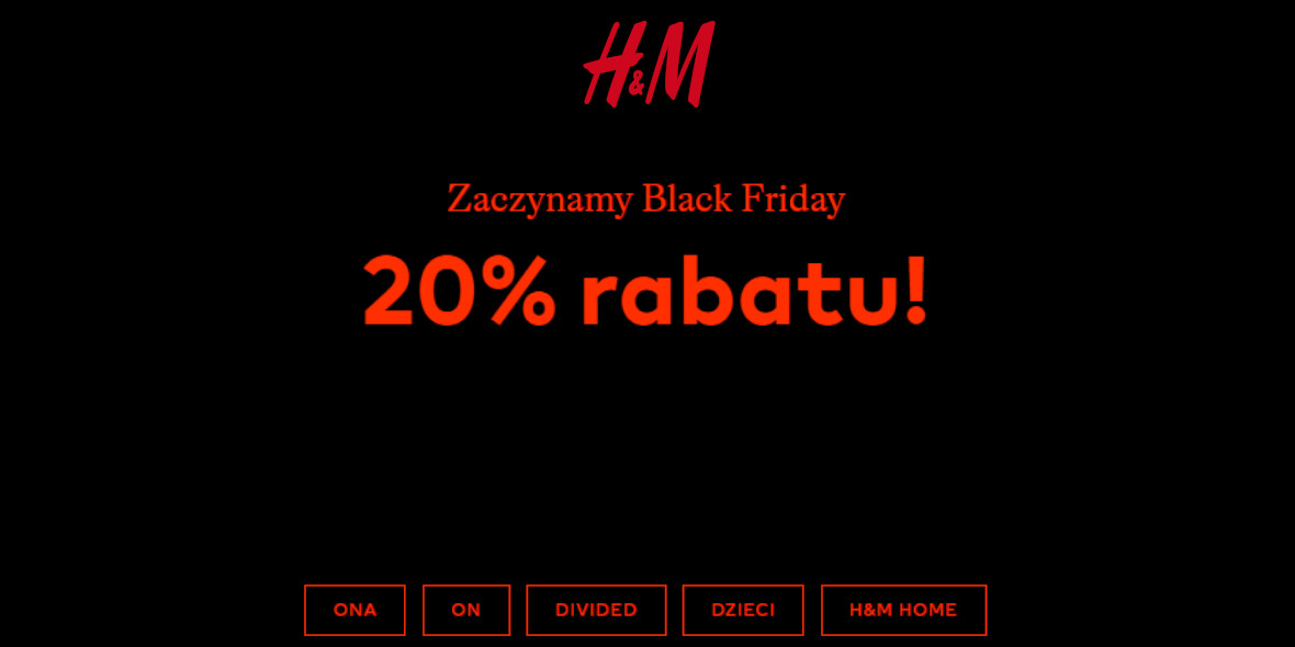 H&M: -20% na Black Friday 27.11.2020