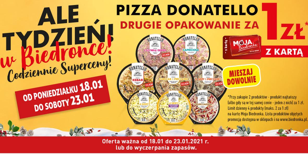 Biedronka: 1 zł za drugie opakowanie pizzy Donatello 18.01.2021