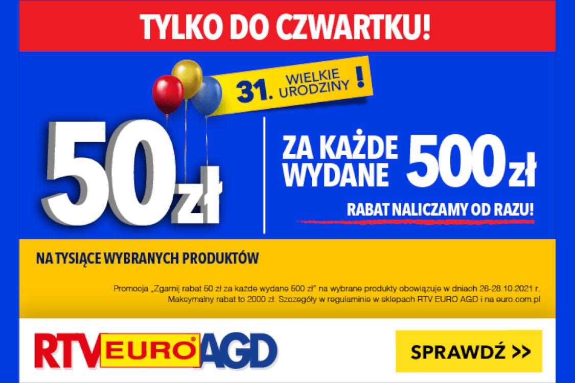 : -50 zł za każde wydane 500 zł