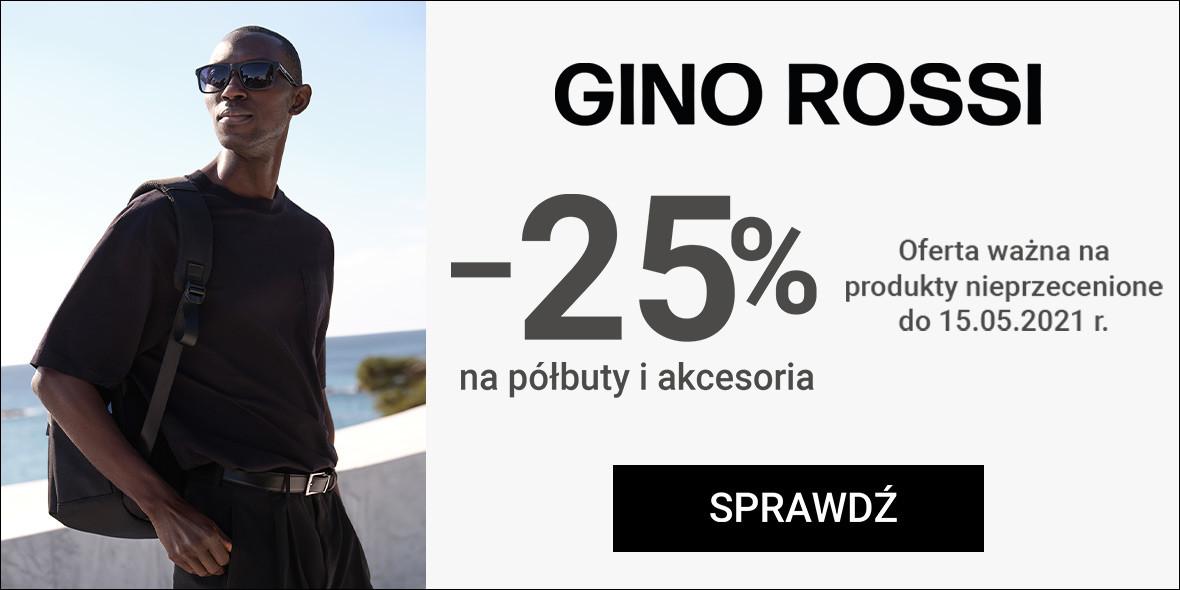 Gino Rossi: Kod: -25% na półbuty i akcesoria 10.05.2021