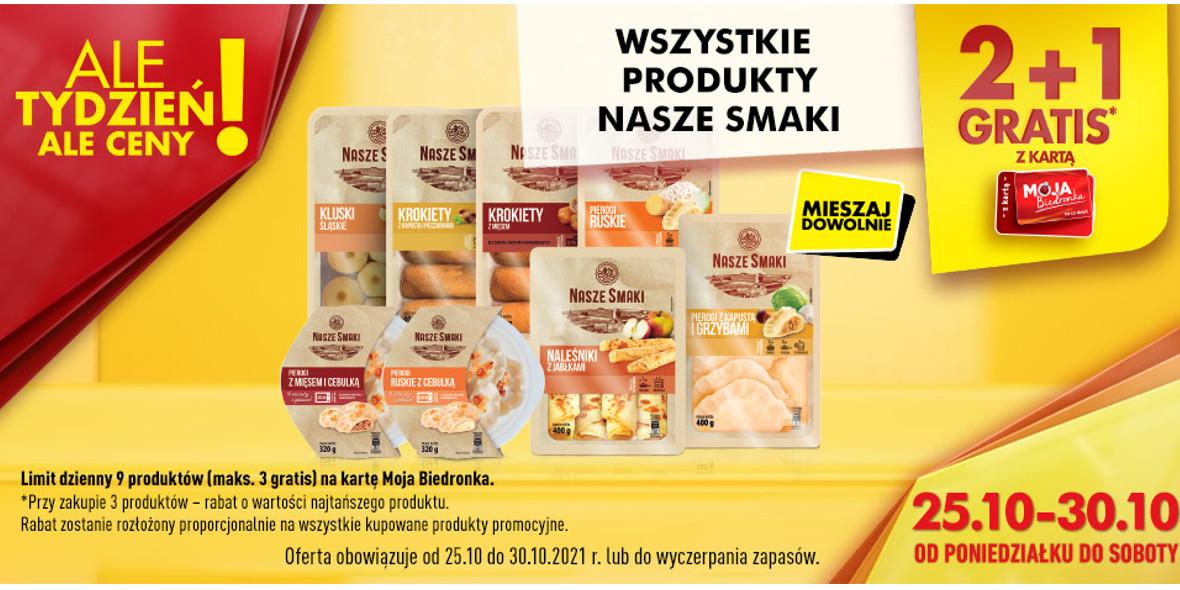 Biedronka: 2 + 1 na wszystkie produkty Nasze Smaki 25.10.2021