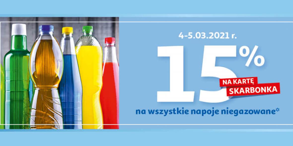 Auchan: 15% zwrotu na kartę Skarbonka na napoje niegazowane 04.03.2021