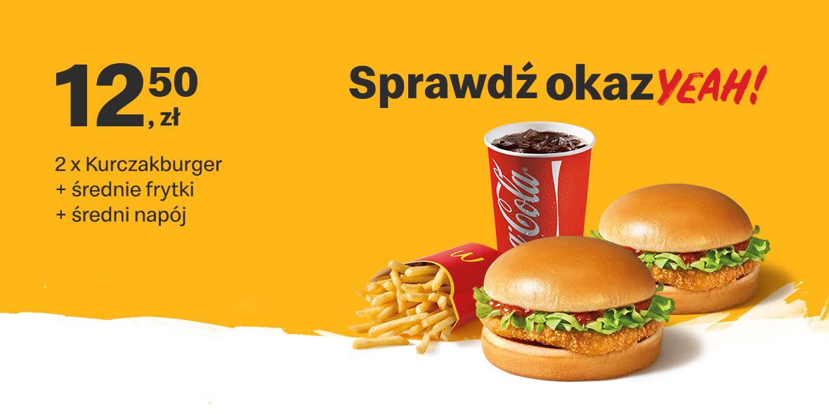 McDonald's: 12,50 zł 2 x Kurczakburger+średnie frytki + średni napój 01.01.0001