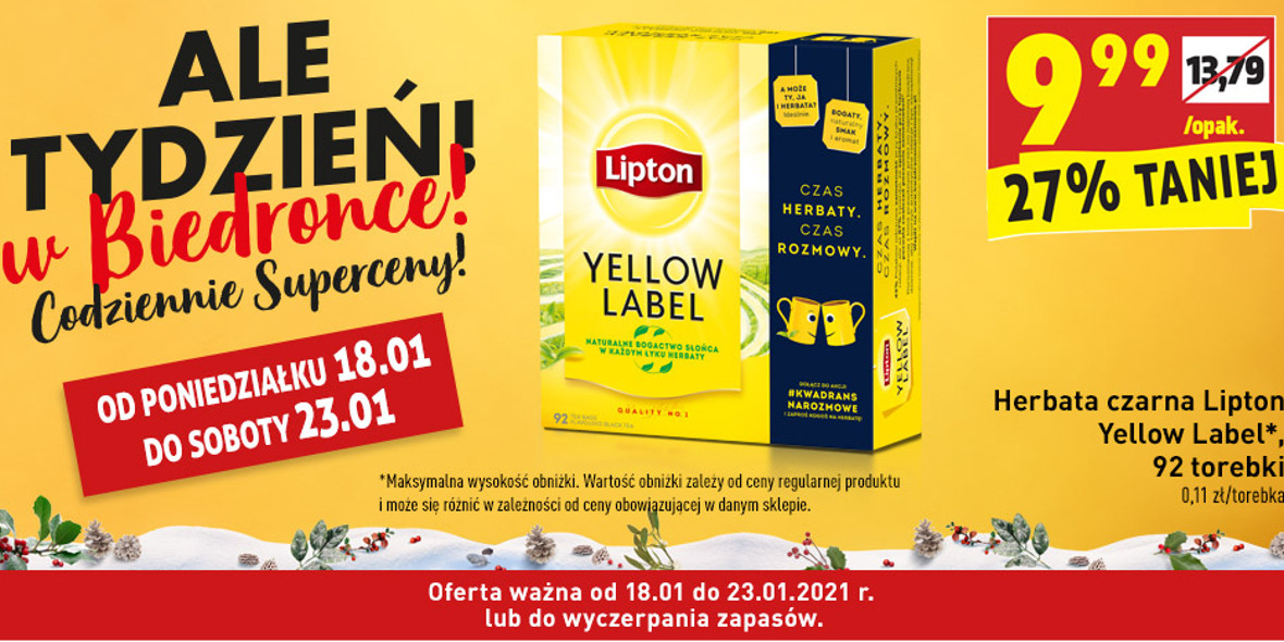 Biedronka: -27% na herbatę czarną Lipton 18.01.2021