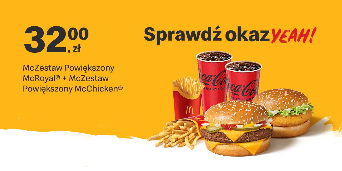 McDonald's:  32 zł McZestaw Powiększony 19.07.2021