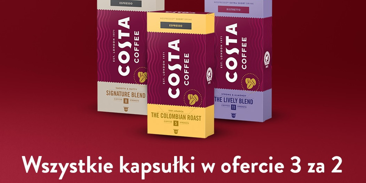 Costa Coffee:  3 za 2 na wszystkie kapsułki 27.04.2021