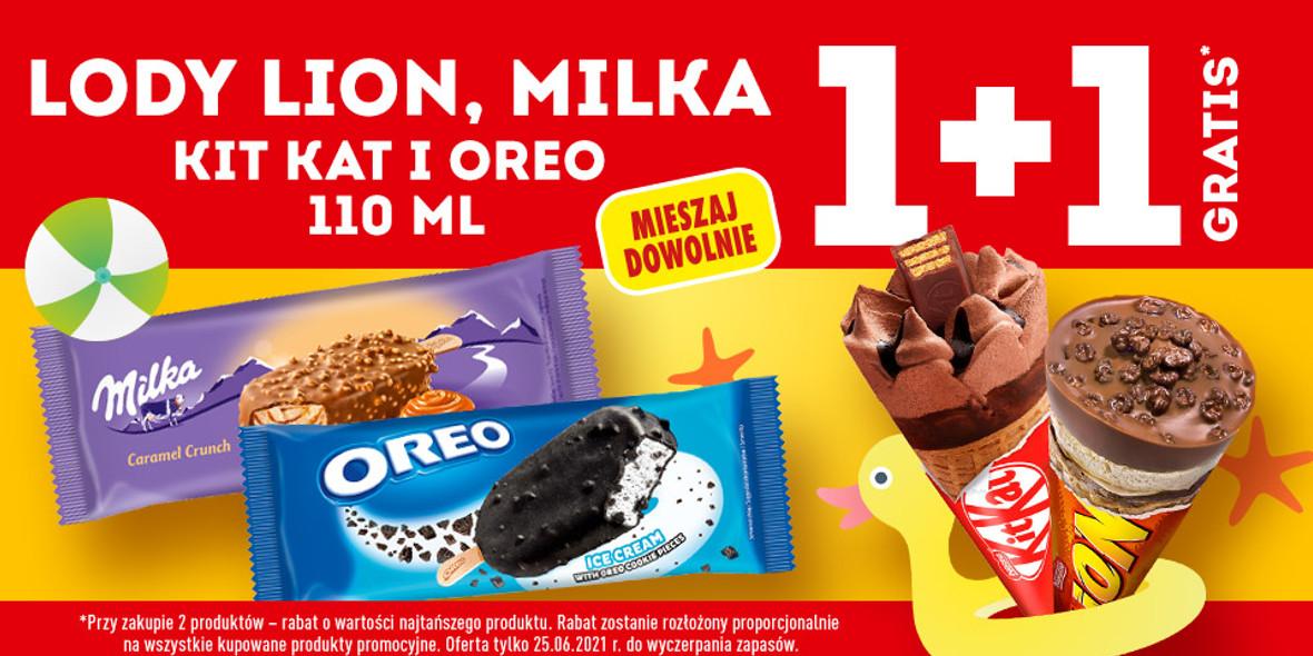 Biedronka: 1 + 1 na lody Lion, Milka, Kit Kat i Oreo 25.06.2021