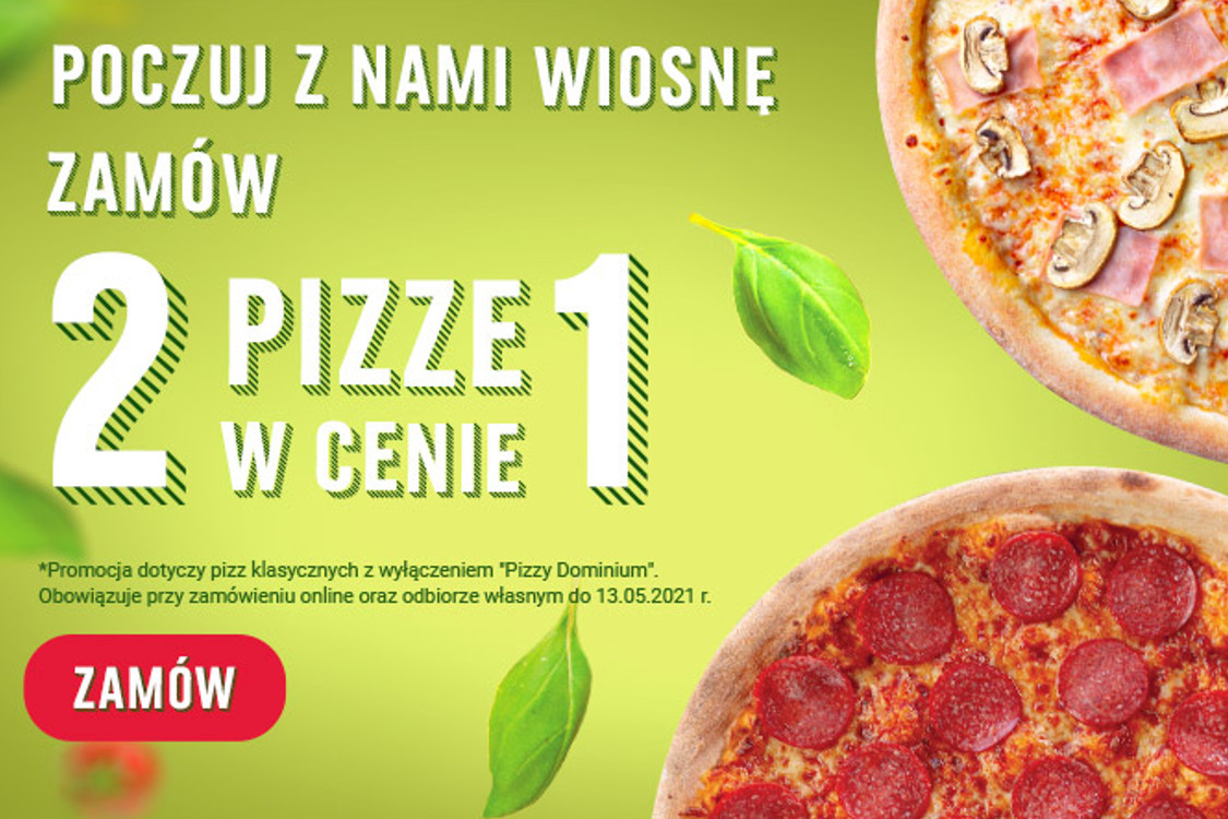 Pizza Dominium:  2 pizze w cenie 1 w Pizza Dominium
