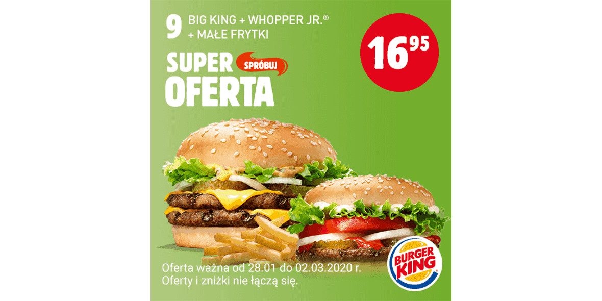 za Big King + Whopper Jr. + małe frytki