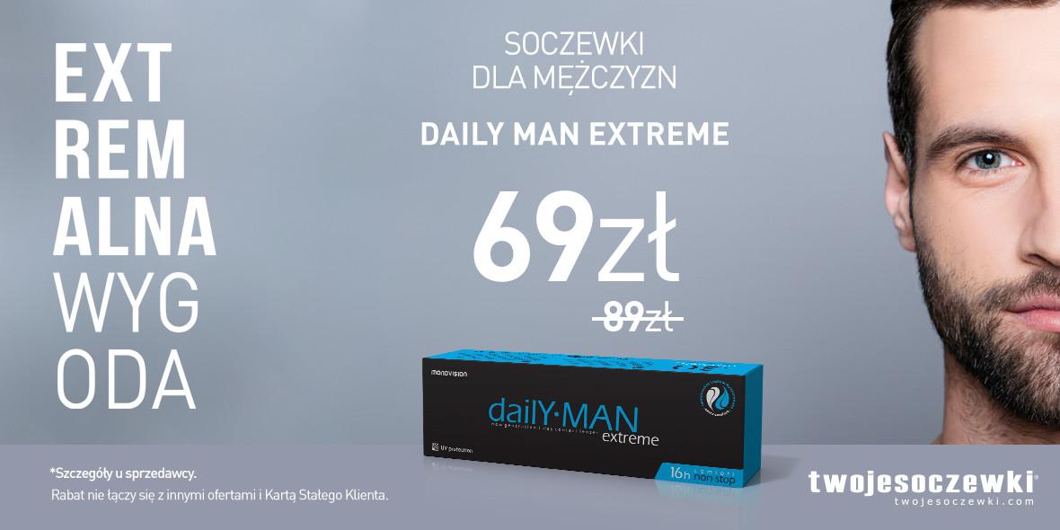 Twoje Soczewki: 69 zł za jednodniowe soczewki Daily Man 14.08.2019