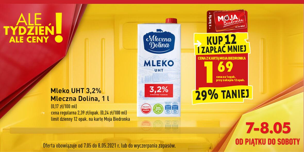 Biedronka:  -29%  na mleko UHT 3,2% Mleczna Dolina 07.05.2021