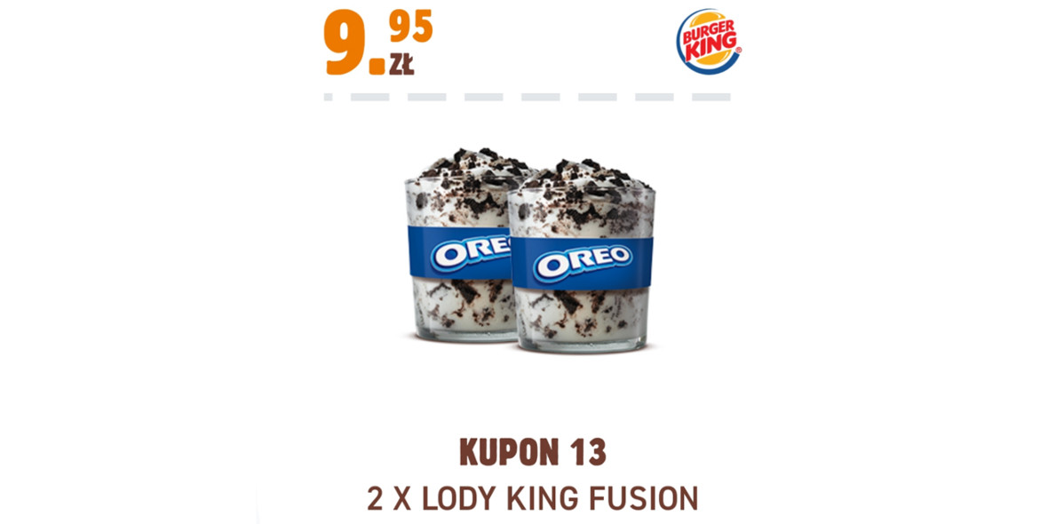 Burger King: 9,95 zł 2 x Lody King Fusion 17.11.2020