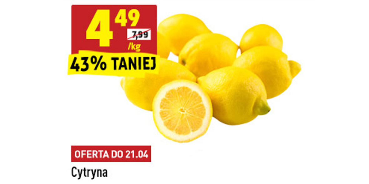 Biedronka: -43% na cytryny 19.04.2021