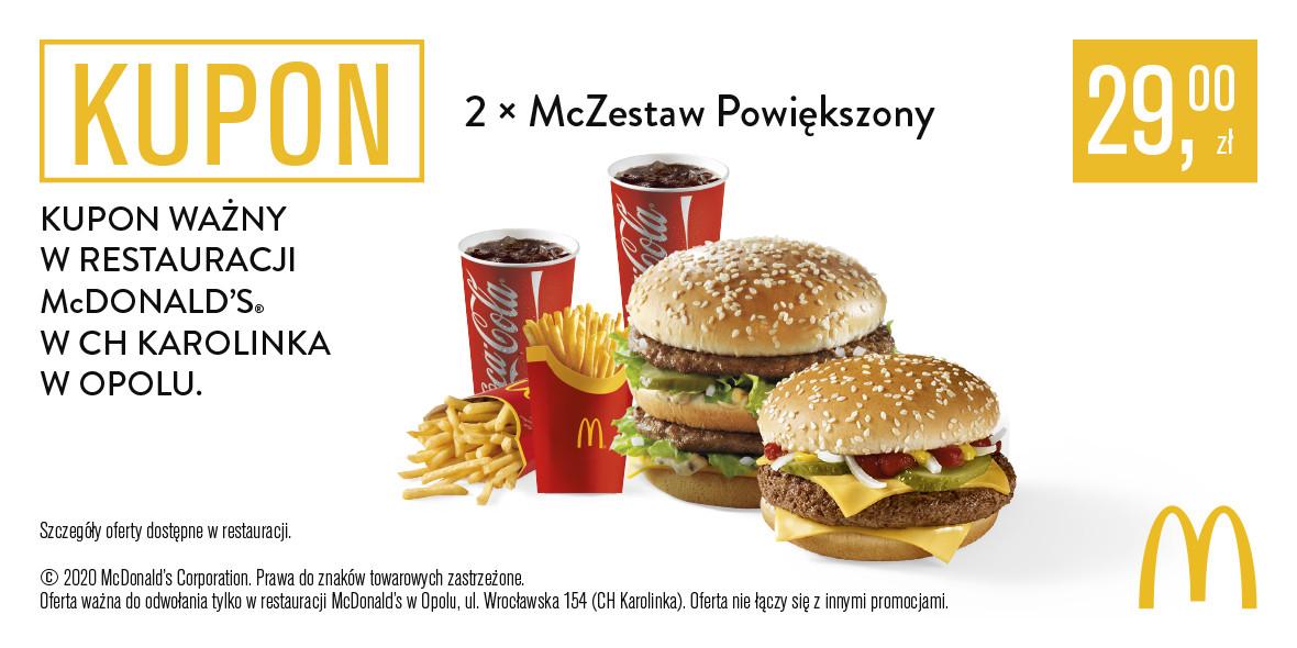 McDonald's: 29 zł za 2 x McZestaw Powiększony