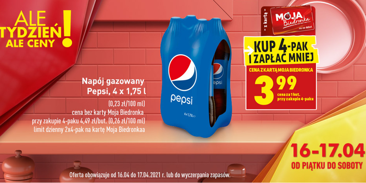 Biedronka:  3,99 zł za napój gazowany Pepsi 16.04.2021
