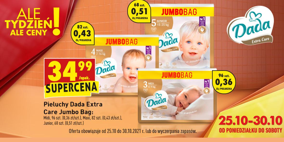 Biedronka:  34,99 zł za pieluchy Dada Extra Care Jumbo Bag 25.10.2021