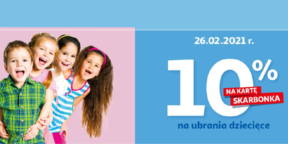 Auchan:  10%  na kartę Skarbonka na ubrania dziecięce 26.02.2021