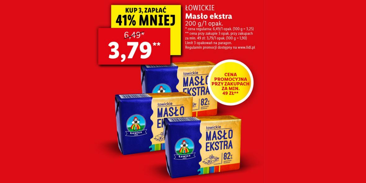 Lidl:  -41% na ŁOWICKIE Masło ekstra 82% 18.10.2021