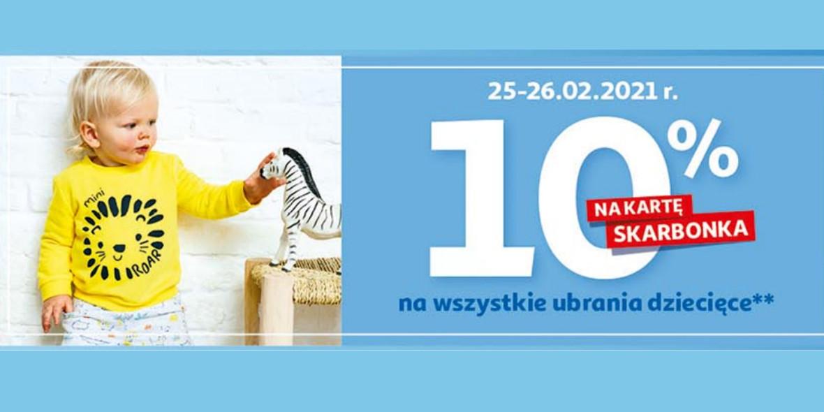 Auchan: 10% zwrotu na kartę Skarbonka na ubrania dziecięce 25.02.2021