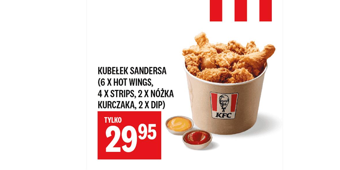 KFC: 29,95 zł za Kubełek Sandersa 07.04.2021