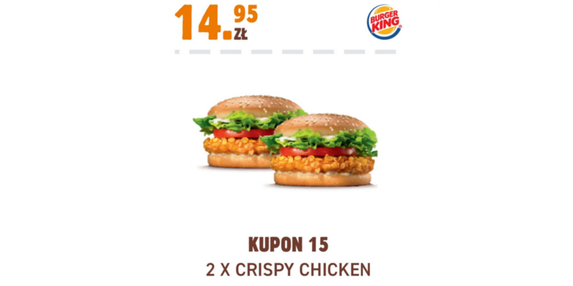 Burger King: 14,95 zł 2 x Crispy Chicken 17.11.2020