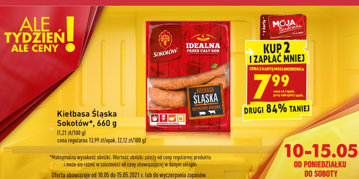 Biedronka:  -80% na drugą kiełbasę Śląską 10.05.2021