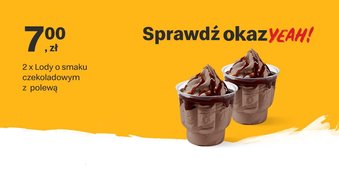McDonald's: 7 zł 2 x Lody o smaku czekoladowym z polewą 18.01.2021